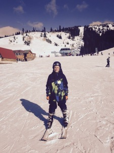 Caleb Christensen leans to ski at Brundage Mountain.